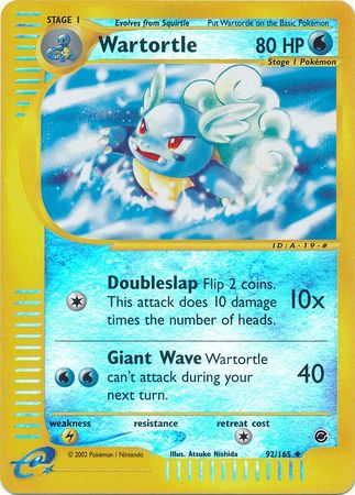 Wartortle 92 165 Uncommon Reverse Holo Expedition